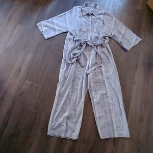 Free people button down jumpsuit